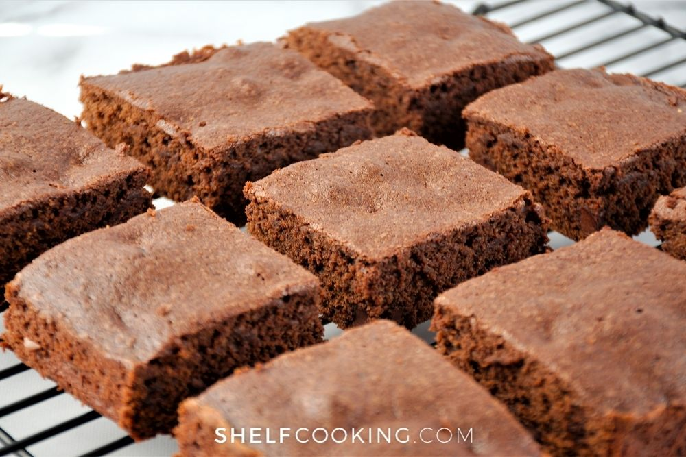 sliced homemade fudge brownies, from Shelf Cooking