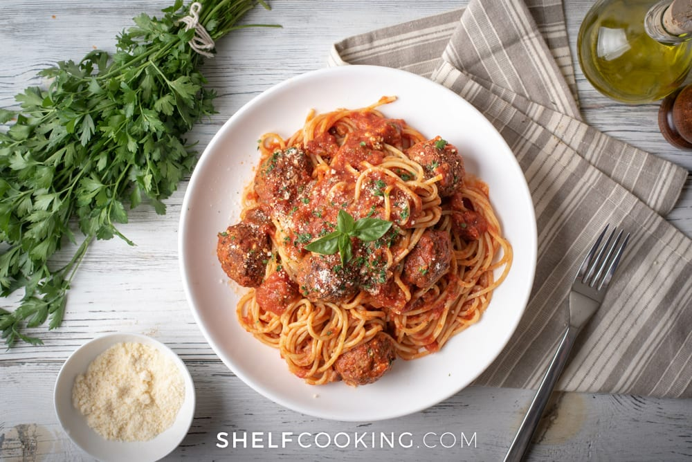 Meatballs and spaghetti, from Shelf Cooking