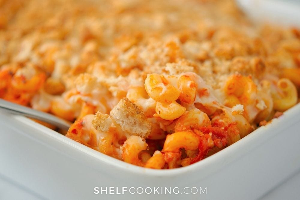 freshly baked chicken parmesan casserole, from Shelf Cooking