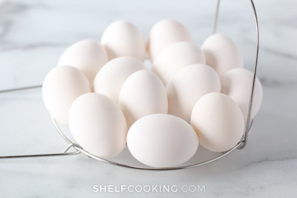 a bowl of boiled eggs, from Shelf Cooking