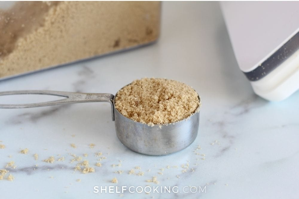 using measuring cups to weigh food, from Shelf Cooking