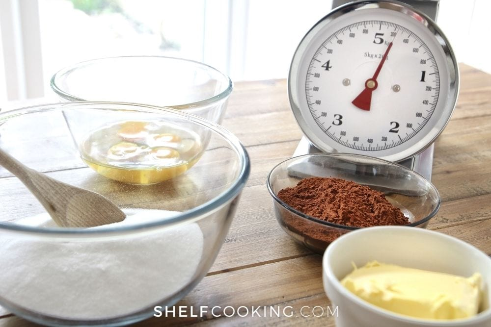 cake ingredients and scale, from Shelf Cooking