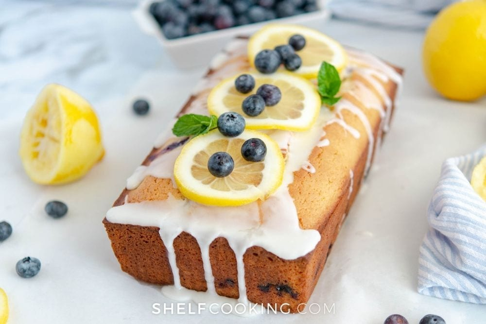 a fresh loaf of lemon blueberry bread, from Shelf Cooking