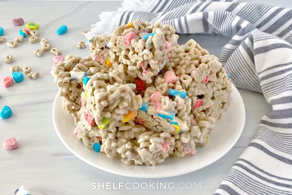 Lucky Charms treats on a counter, from Shelf Cooking
