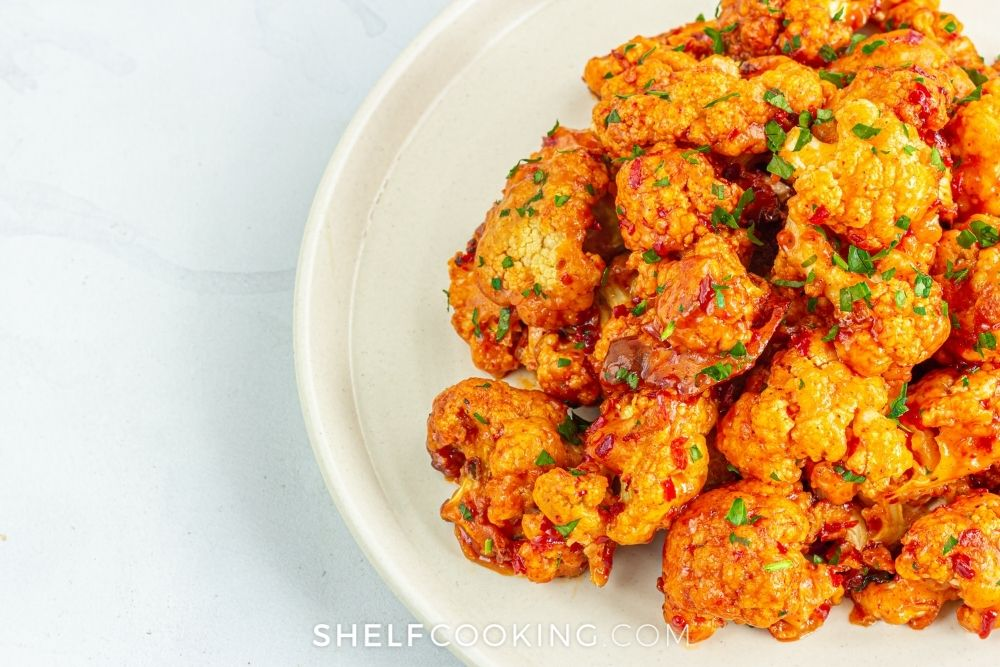 buffalo cauliflower bites for dipping, from Shelf Cooking