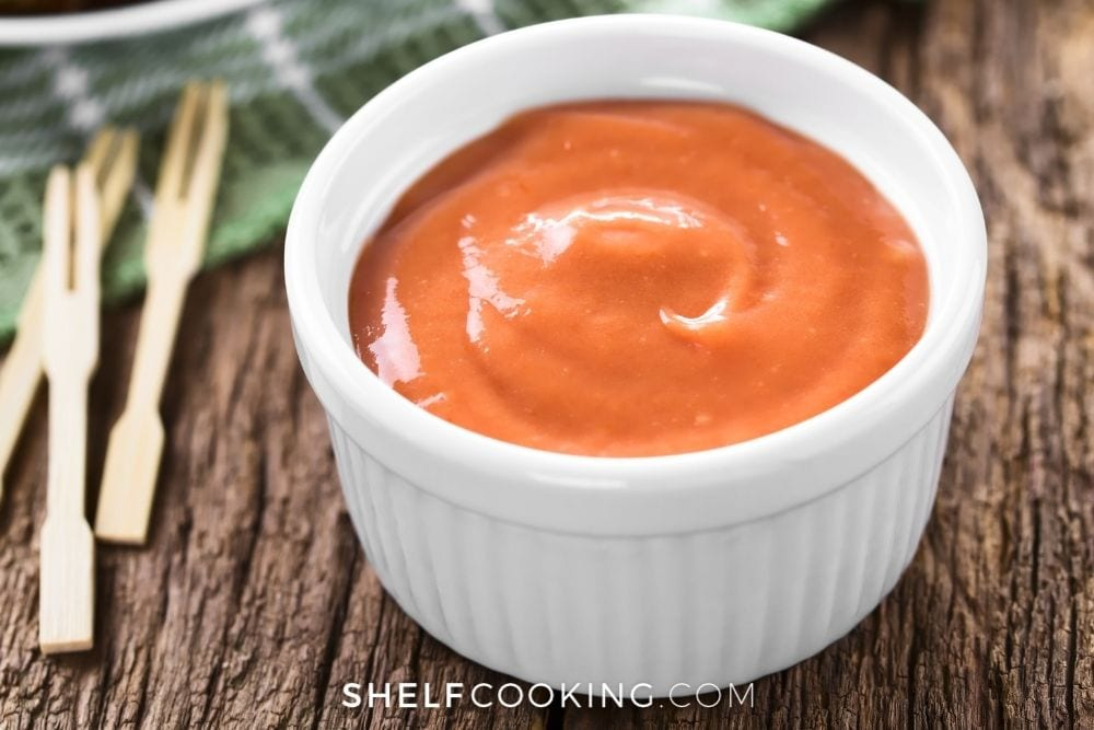 red robin campfire sauce in ramekin, from Shelf Cooking