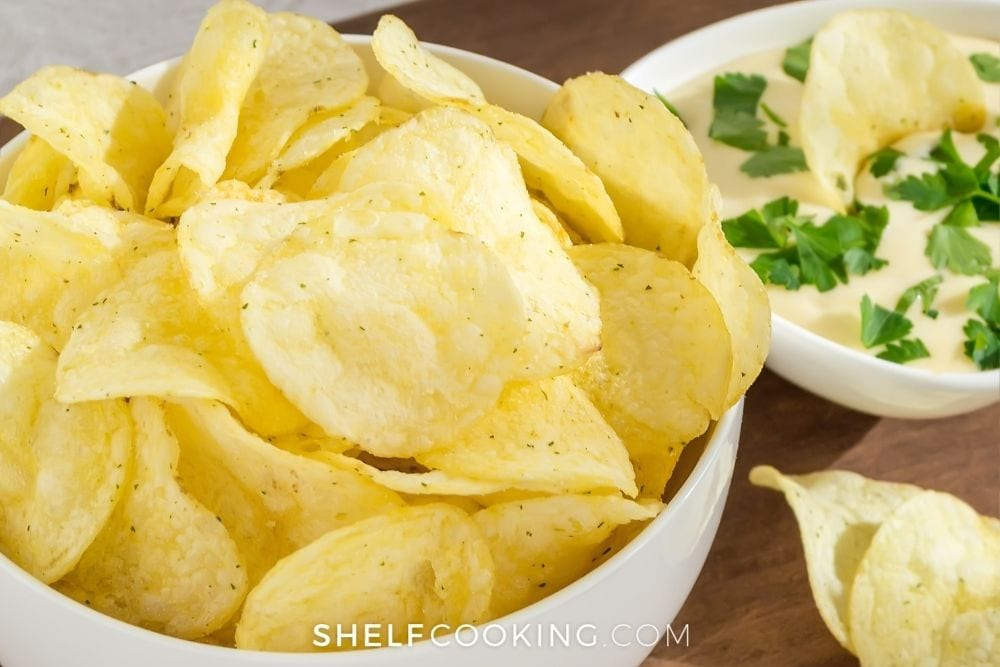 bowl of leftover potato chips, from Shelf Cooking