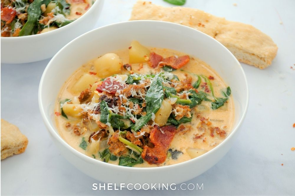 zuppa toscana with bacon on top, from Shelf Cooking