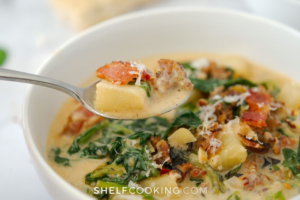 a bowl of homemade zuppa toscana, from Shelf Cooking