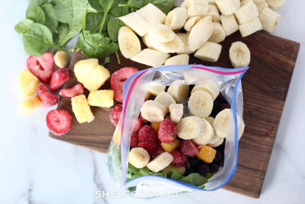 fruit smoothie ingredients for freezer, from Shelf Cooking