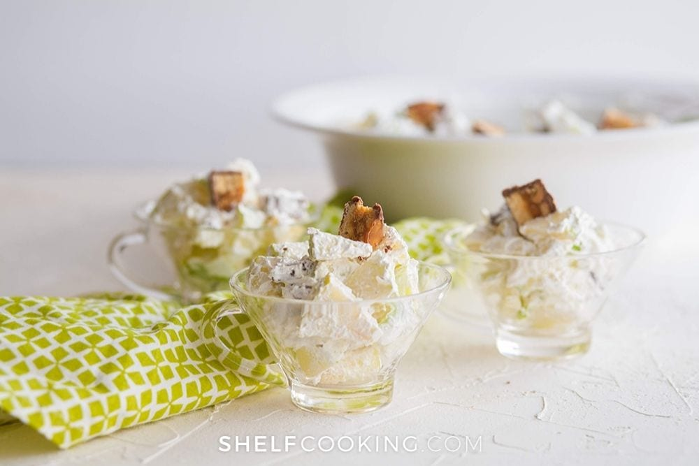 Snickers apple salad in cups, from Shelf Cooking