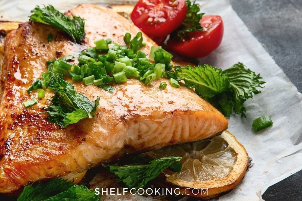 grilled salmon with fresh herbs, from Shelf Cooking