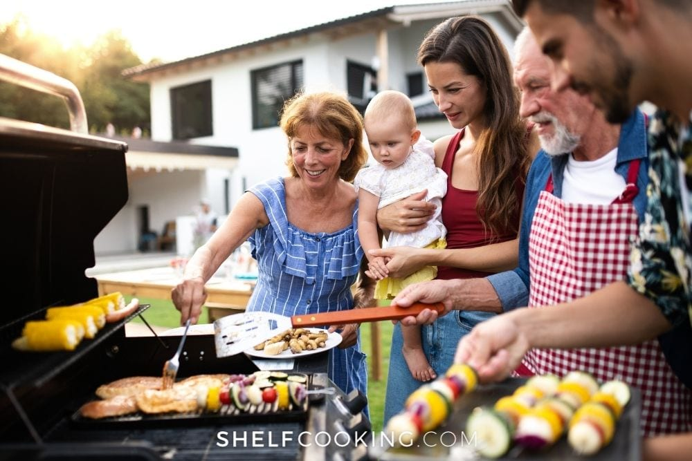family grilling food, from Shelf Cooking