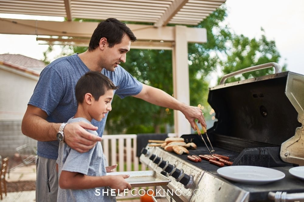father and son grilling, from Shelf Cooking