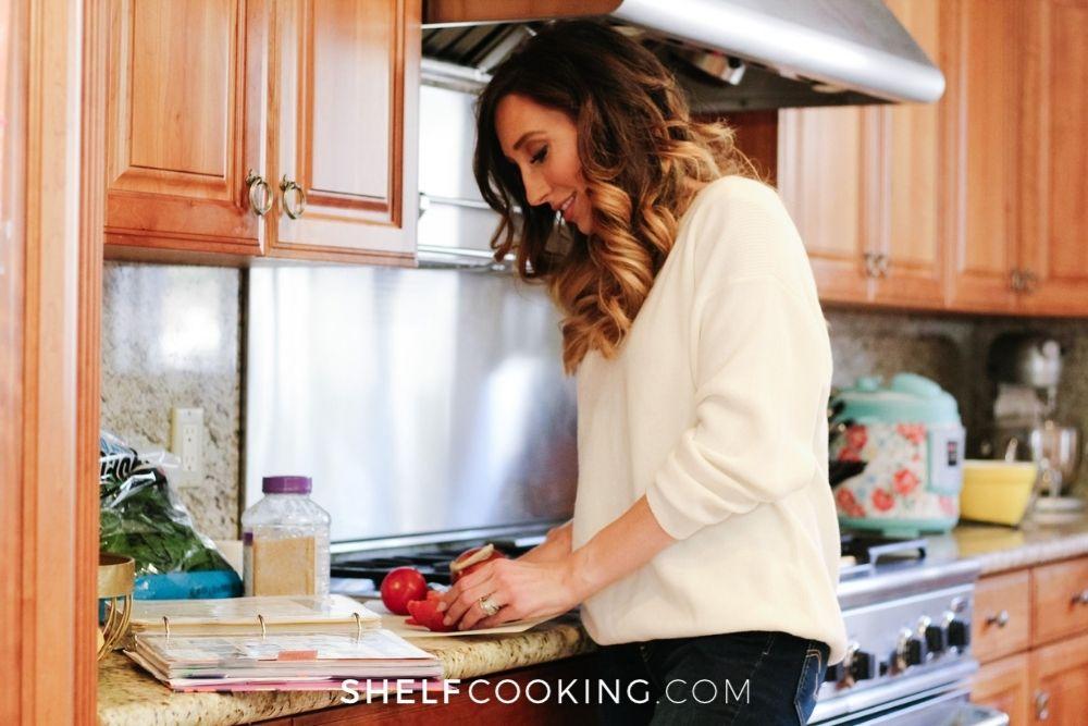 Jordan Page making dinner, from Shelf Cooking