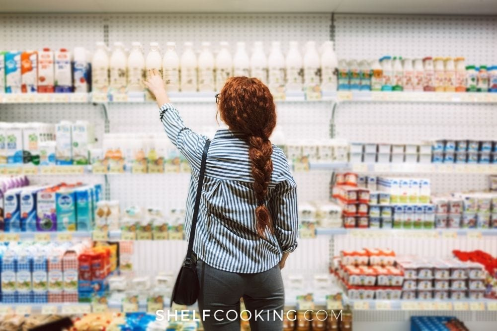 woman shopping for milk, from Shelf Cooking