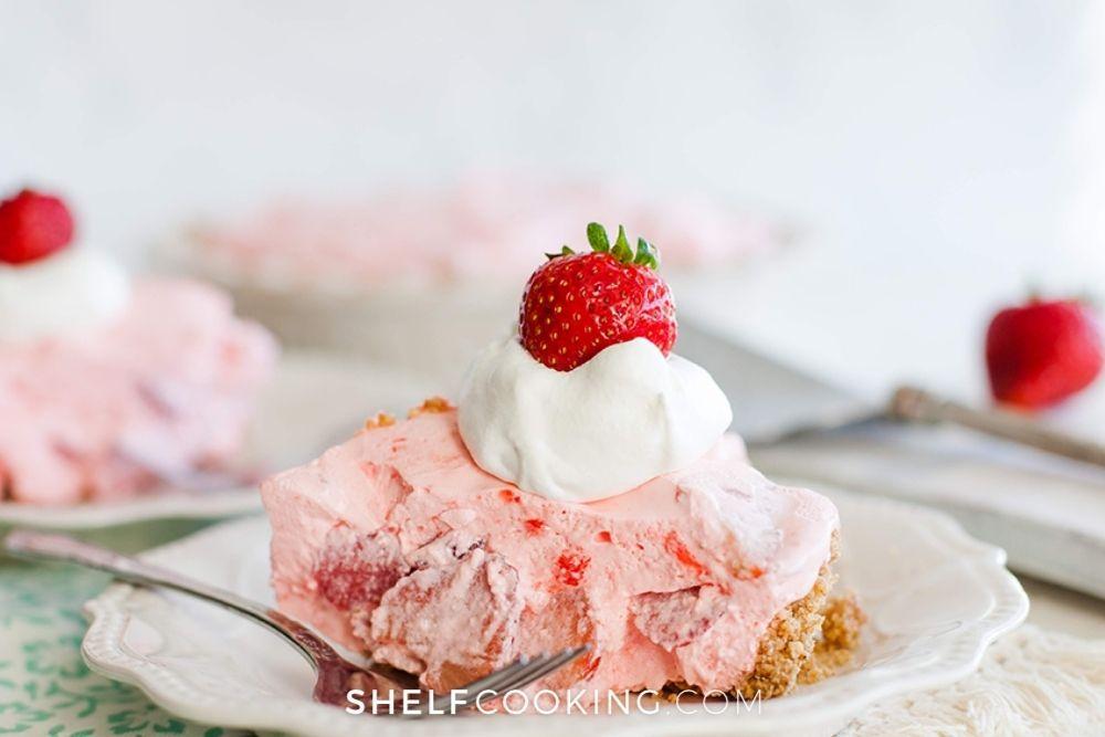 slice of no-bake strawberry cream pie, from Shelf Cooking