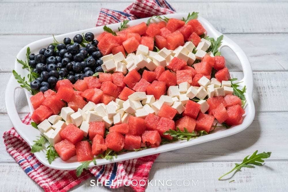 4th of July fruit and cheese tray, from Shelf Cooking