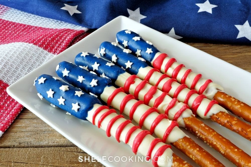 4th of July pretzel rods, from Shelf Cooking