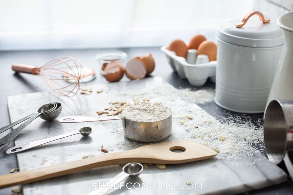 flour and eggs on kitchen counter, from Shelf Cooking