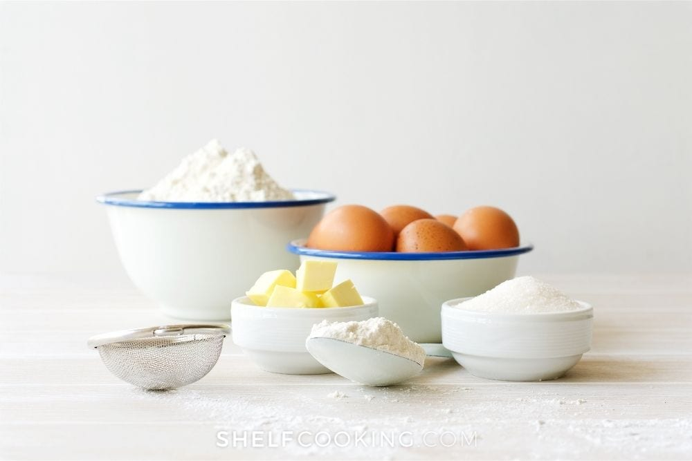 baking ingredients in bowls, from Shelf Cooking