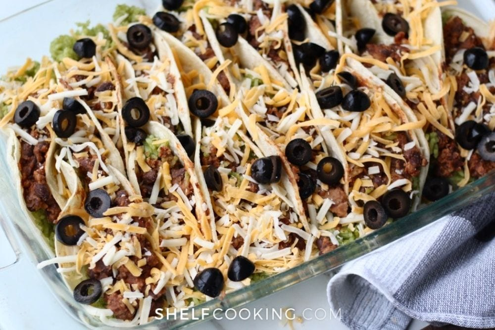 Pan of campfire-baked tacos from Shelf Cooking.
