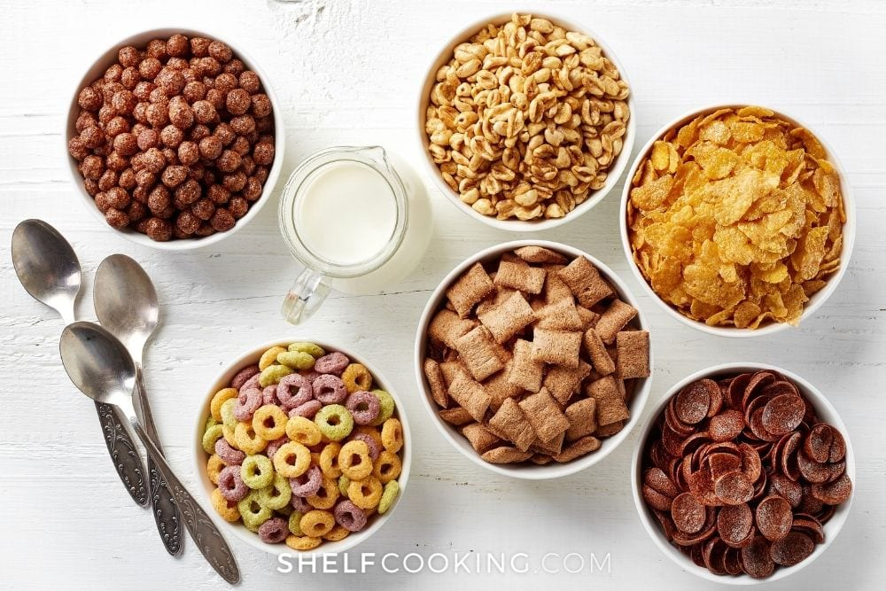 bowls of cereal, from Shelf Cooking