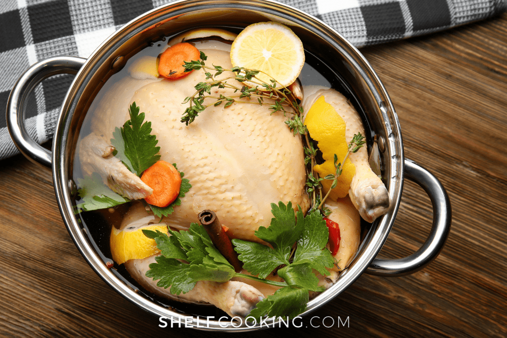 turkey brining in a pot, from Shelf Cooking