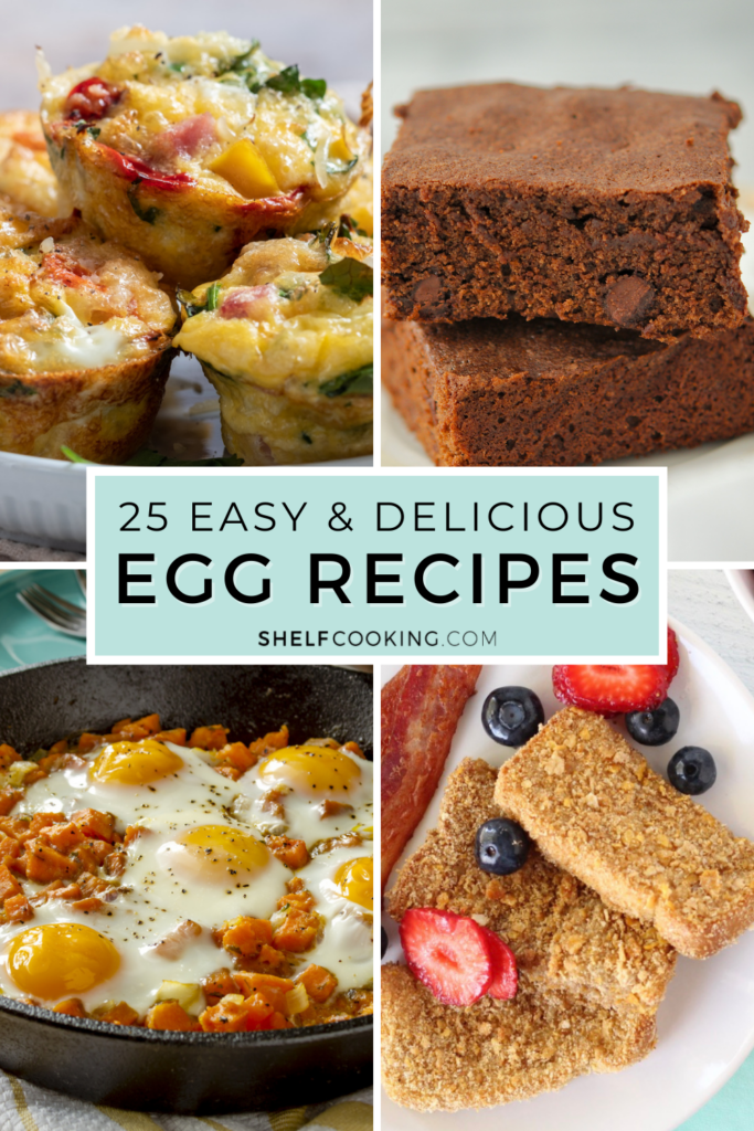 """Image with text that reads """"egg recipes"""" from Shelf Cooking"""