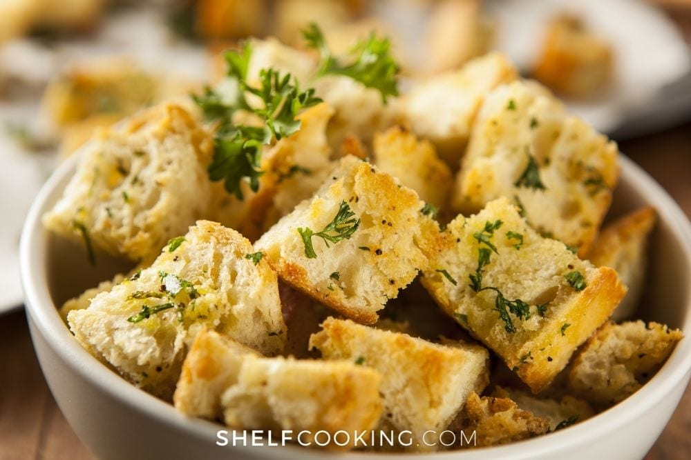 close up of croutons in a bowl, from Shelf Cooking
