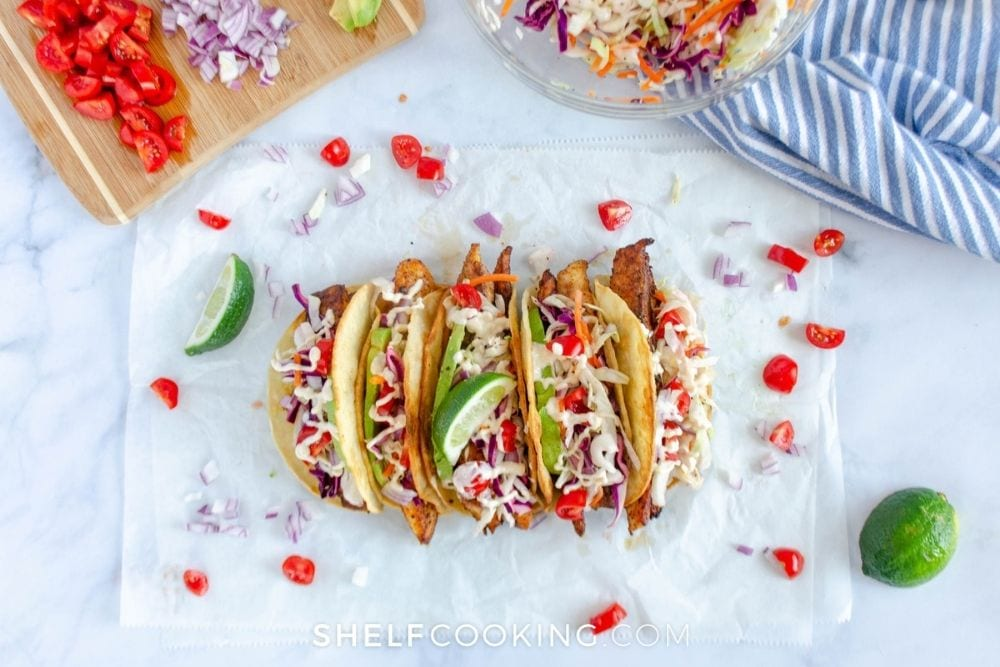 leftover fish tacos on counter, from Shelf Cooking