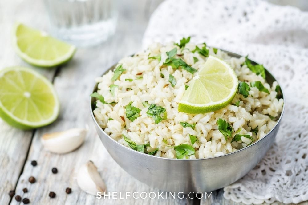 bowl of cilantro lime rice, from Shelf Cooking