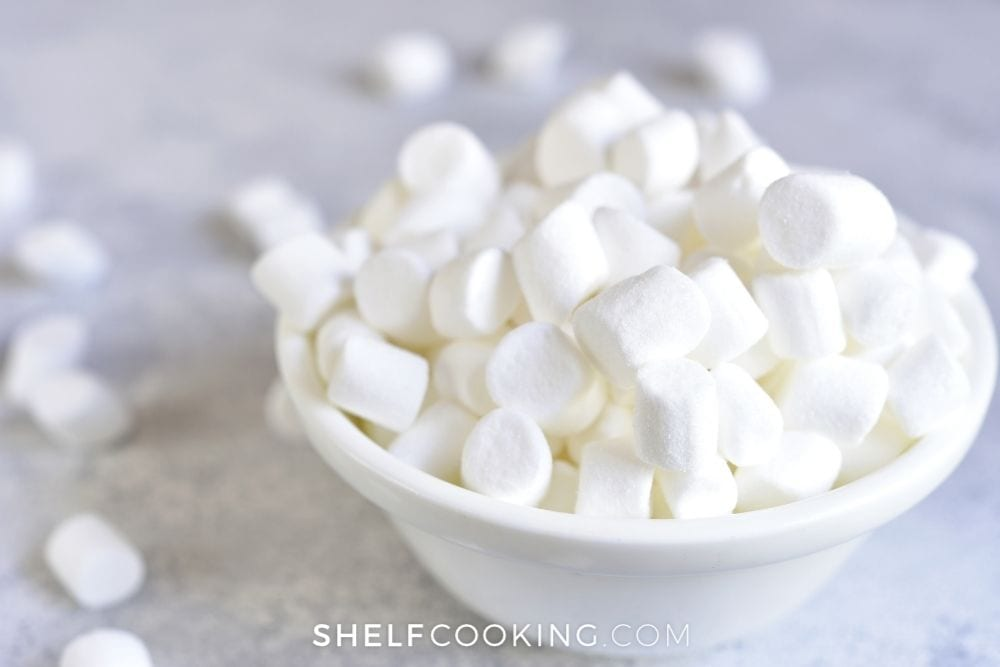 a bowl of mini marshmallows, from Shelf Cooking