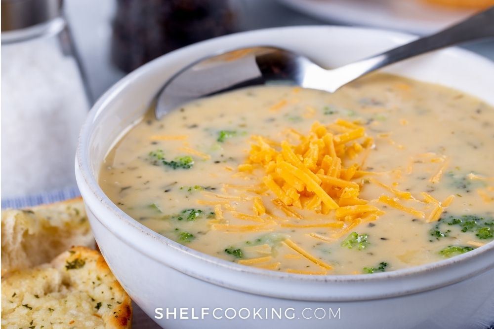 meatless broccoli cheddar soup, from Shelf Cooking