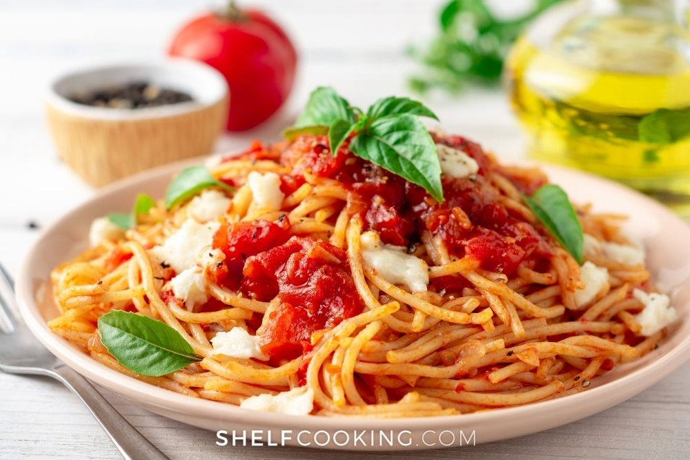 spaghetti marinara for meatless Monday, from Shelf Cooking