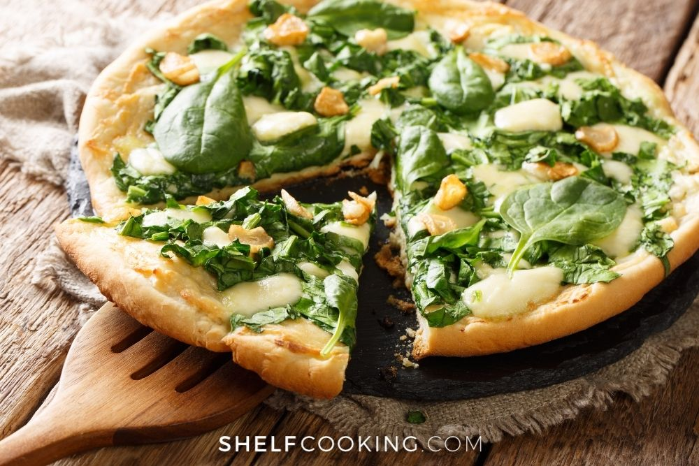 vegetarian pizza with white sauce, from Shelf Cooking