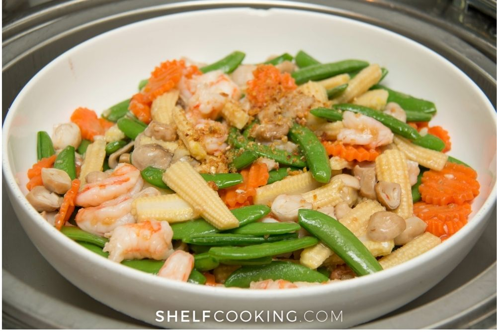 seafood and veggie stir fry with rice, from Shelf Cooking
