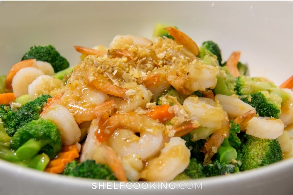 shrimp and vegetable stir fry in bowl, from Shelf Cooking