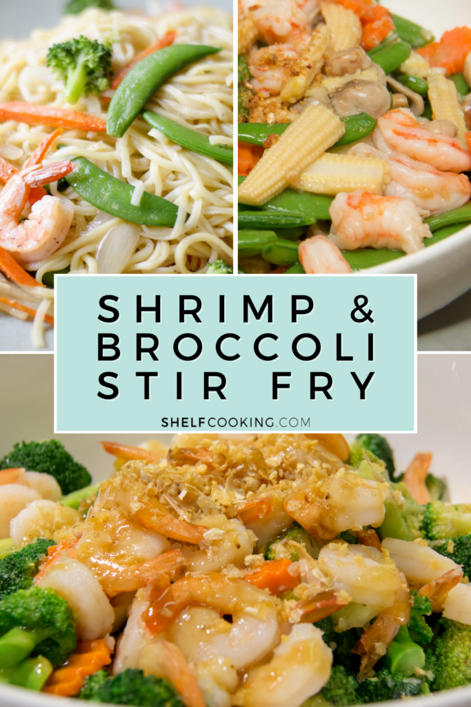 Various shrimp and broccoli stir fry images, from Shelf Cooking