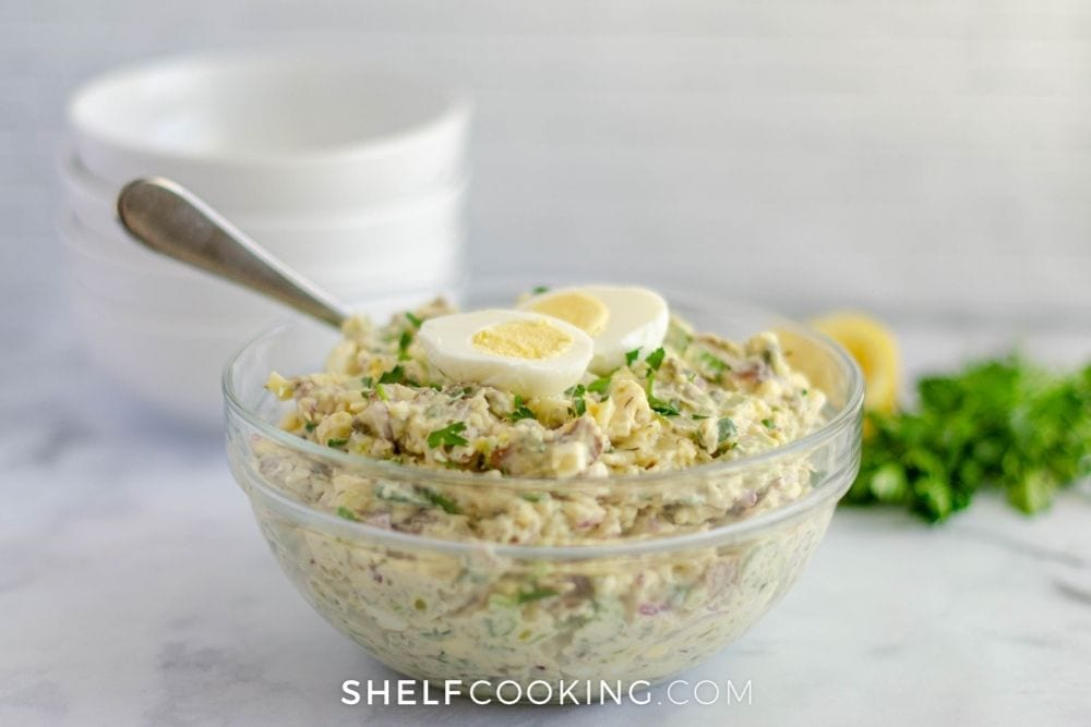 bowl of a potato side dish, from Shelf Cooking