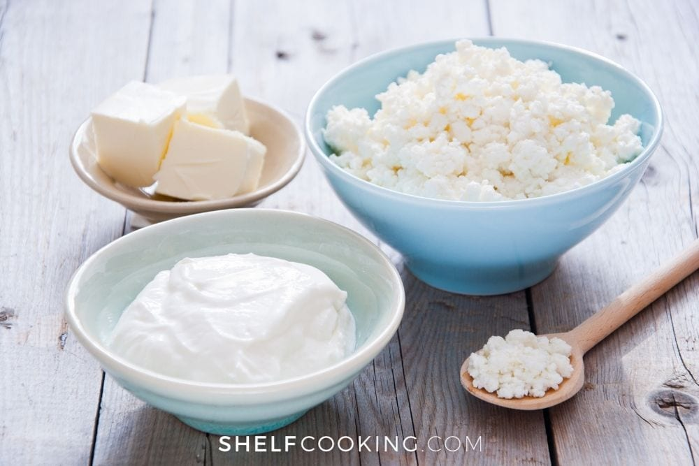 ricotta cheese substitutes, including cottage cheese, from Shelf Cooking