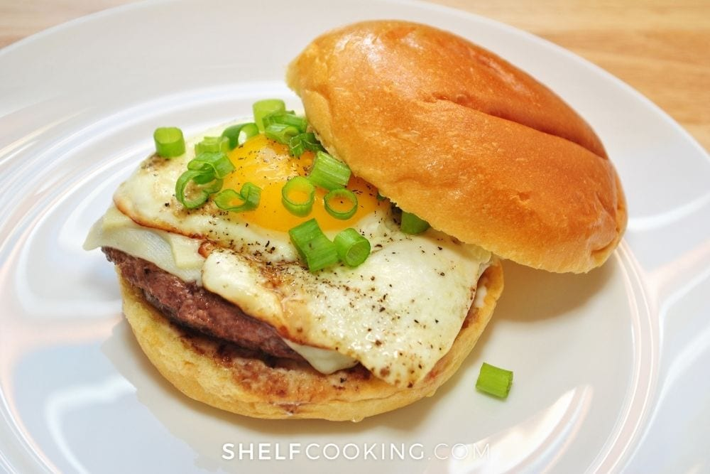 breakfast sandwich on leftover bun, from Shelf Cooking