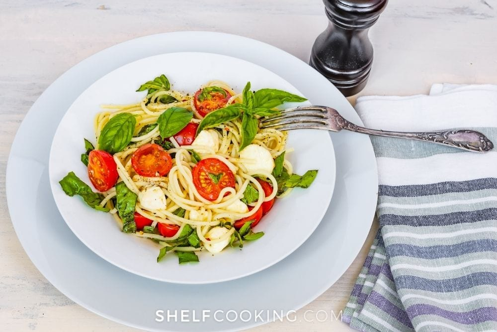 Pasta with tomatoes and basil from Shelf Cooking.