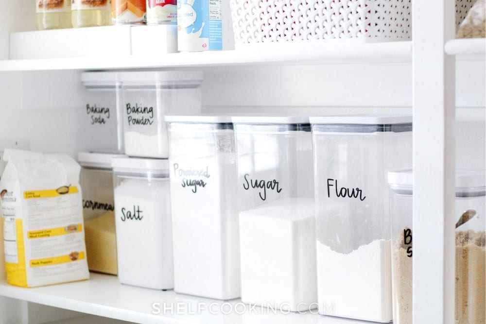 Canisters of dry ingredients from Shelf Cooking.