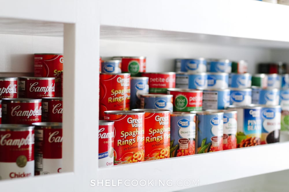 Canned items on a shelf, from Shelf Cooking