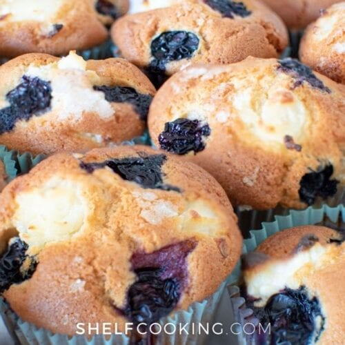 closeup of homemade blueberry muffins, from Shelf Cooking