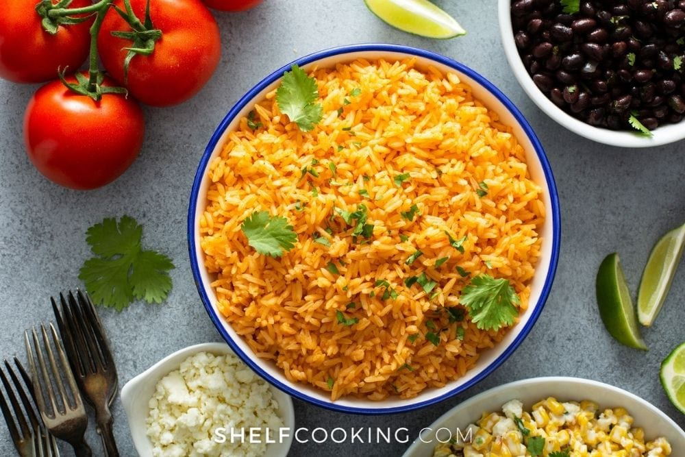 doctored up homemade Mexican rice, from Shelf Cooking