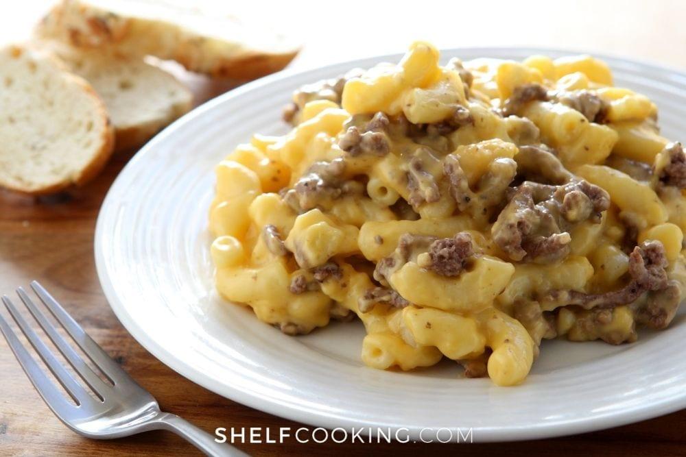 hamburger macaroni and cheese, from Shelf Cooking