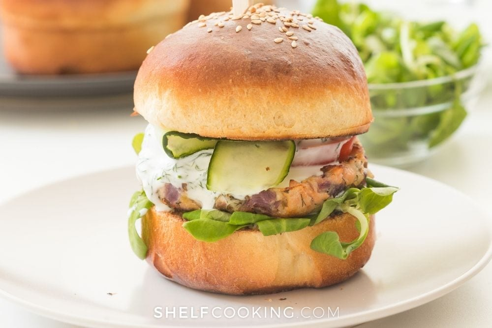 salmon burger, from Shelf Cooking