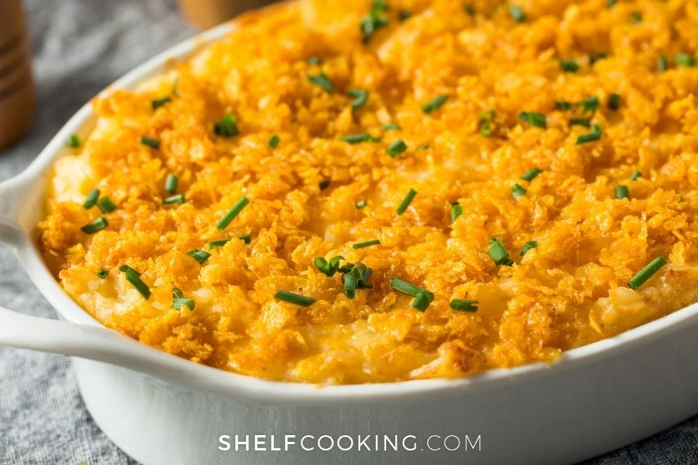 cheesy casserole with leftover salmon, from Shelf Cooking